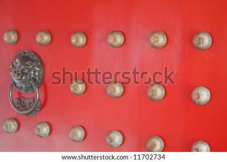 Chinese Design Door in a Business Place with red and gold