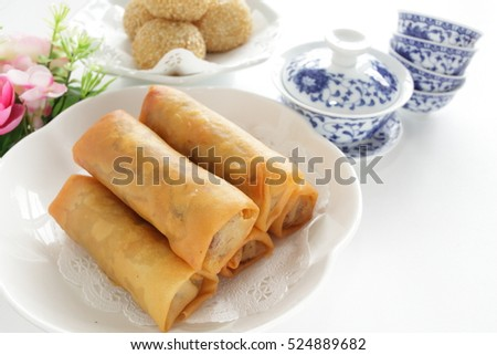 Chinese dim sum, spring roll