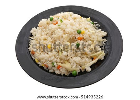 Chinese dish. Chinese food. Rice with vegetables, isolated on white. Closeup.