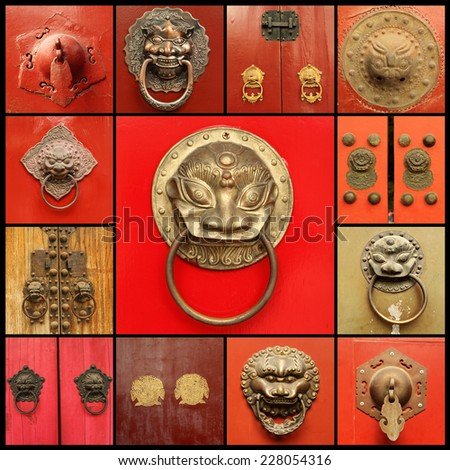 chinese door knockers collage - stock photo