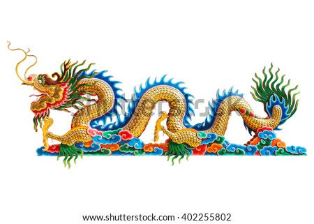 chinese dragon head statue on white background.