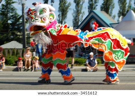 Chinese Dragon In Parade - stock photo
