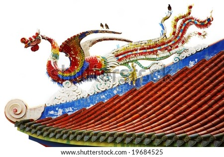 chinese dragon in the roof of eastern style - stock photo
