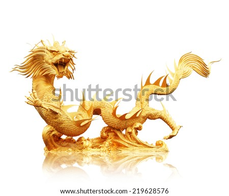 Chinese dragon isolated on white background, clipping path. - stock photo