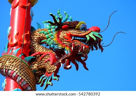 Chinese dragon on china temple roof