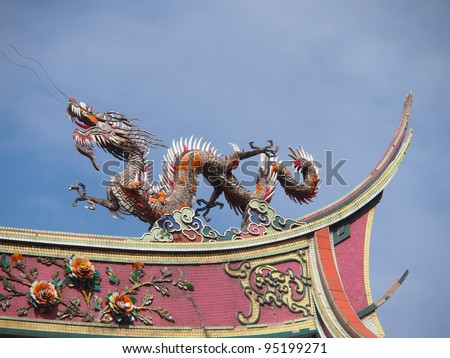 Chinese dragon statue on roof of a temple