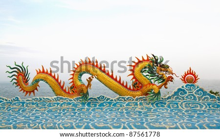 chinese dragon statue on the clouds.