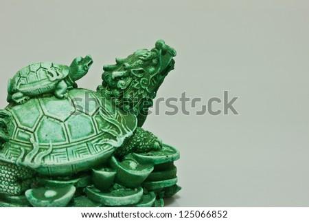 Chinese dragon turtle prosperity figurine - stock photo