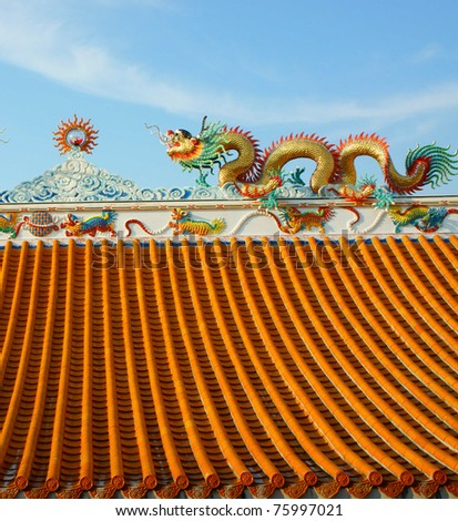 Chinese dragons on a temple in Thailand.