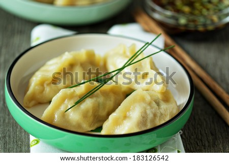 Chinese dumplings with ground chicken and cabbage filling - stock photo