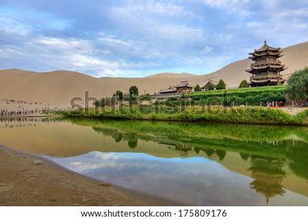 Chinese Dunhuang Crescent Lake - stock photo