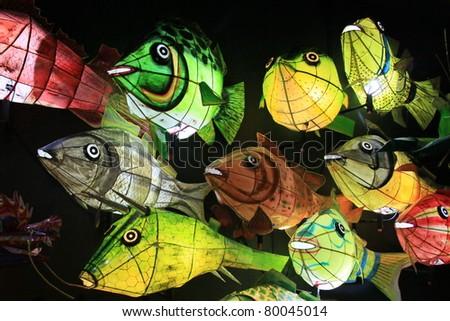 chinese fish lanterns for celebrating autumn festival - stock photo