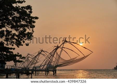 Chinese fishing net in Fort Kochi, India                                - stock photo