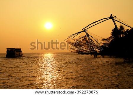 chinese fishing nets at cochin - stock photo