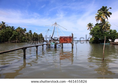 Chinese fishing nets erected in the backwater regions of Kerala, India.