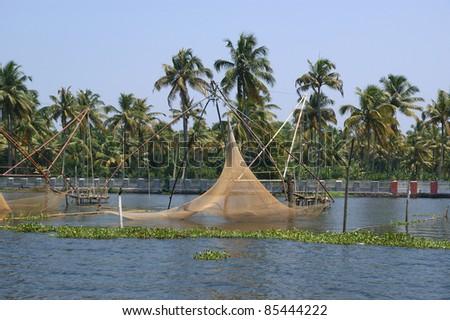 Chinese fishing nets. Vembanad Lake, Kerala, South India - stock photo