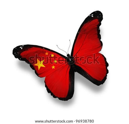 Chinese flag butterfly, isolated on white - stock photo