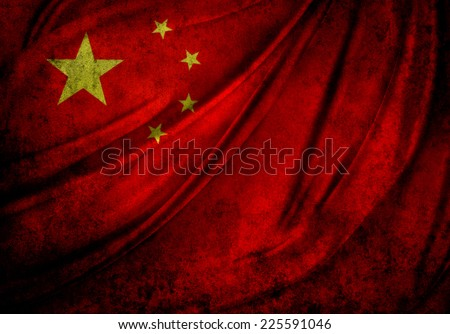Chinese flag detail. Grunge effect - stock photo