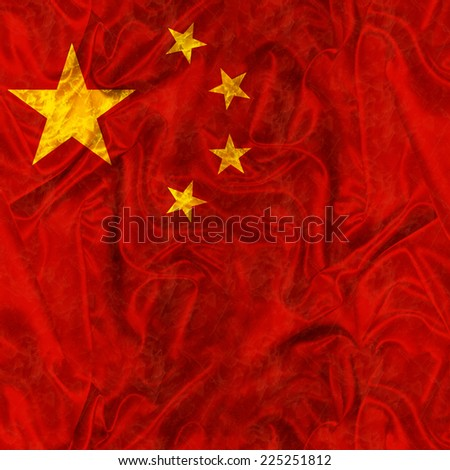 Chinese Flag with silk satin texture - stock photo