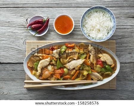 Chinese food, chicken chop suey overhead shoot - stock photo