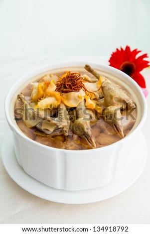 Chinese food, Chinese herbal medicine stewed chicken - stock photo