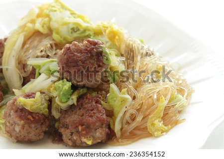 Chinese food, meat ball and glass noodle simmered with cabbage