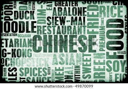 Chinese Food Menu Art Background in Grunge - stock photo