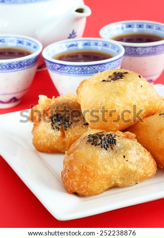 Chinese fried rice cakes for Lunar New Year - stock photo