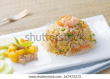 chinese fried rice , or nasi goreng popular cusine in asia  - stock photo