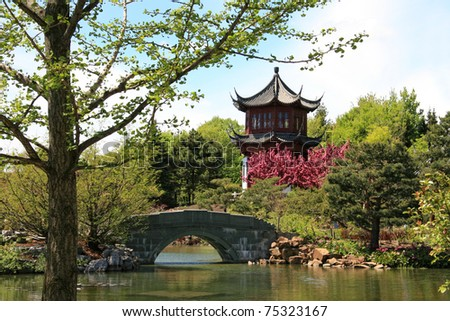 Chinese garden at Montreal Botanical garden - stock photo