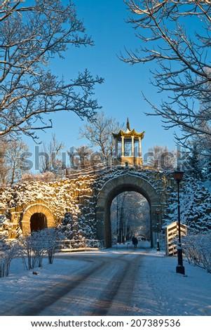 Chinese Gazebo and Gothic Gate of Alexander Gardens in Pushkin - stock photo