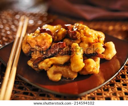 chinese general tso's chicken - stock photo