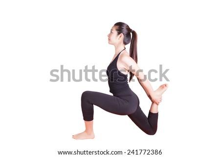 Chinese girl doing yoga pose, isolated on white - stock photo