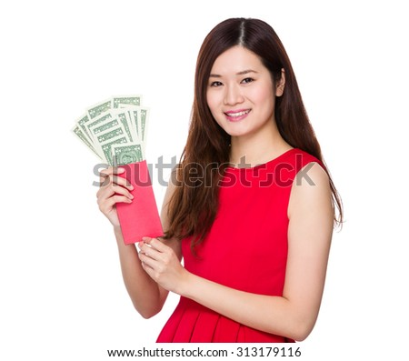Chinese girl hold with red pocket with USD