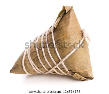 Chinese Glutinous Rice Dumpling on white background. - stock photo