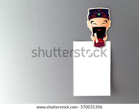 Chinese God fridge magnet with blank note, souvenir fridge magnet chinese style for home decorations - stock photo