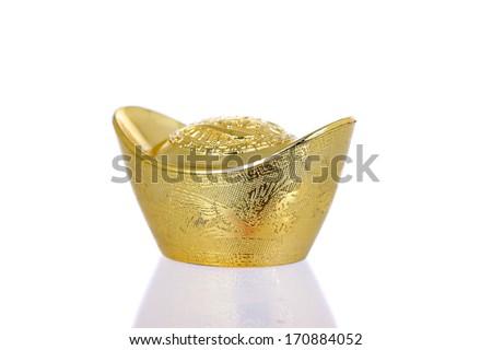 Chinese gold ingot, isolate on white background - stock photo
