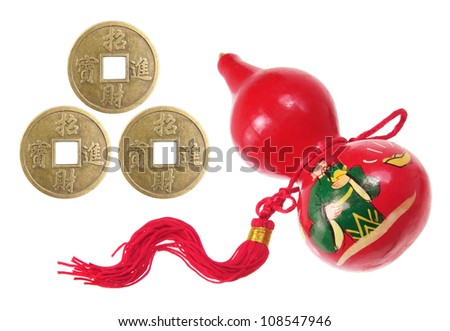 Chinese Gourd Decoration and Antique Coins on White Background - stock photo