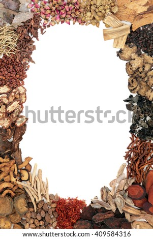 Chinese herb selection used in traditional herbal medicine forming an abstract border over white background. - stock photo