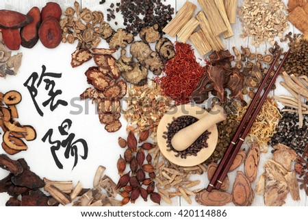 Chinese herbal medicine ingredients used in traditional herbal medicine with yin and yang mandarin calligraphy symbols on rice paper. - stock photo