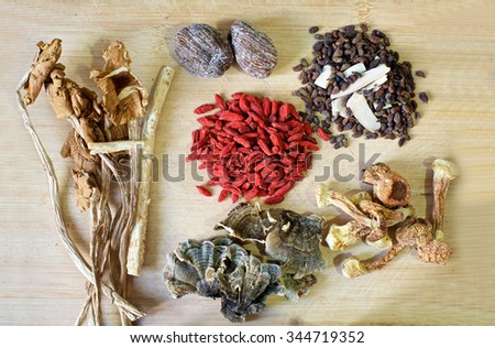 Chinese herbal soup ingredients, wolfberries, dried dates - stock photo