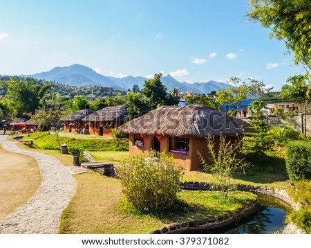 Chinese houses at Santichon Village in Pai city, Mae hong son Province, Thailand - stock photo