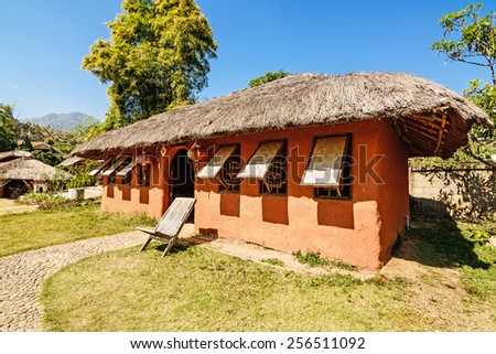 Chinese houses made of clay in hill at Santichon village , Pai c - stock photo