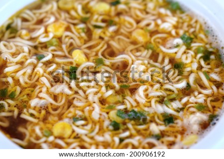 Chinese instant noodle soup - stock photo