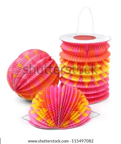Chinese lantern. Traditional handmade work from rice paper. - stock photo