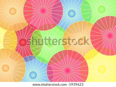 Chinese Lanterns in shape of parasols - stock photo