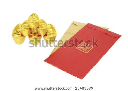 Chinese lunar New Year red packets and gold ingot ornaments on white background - stock photo