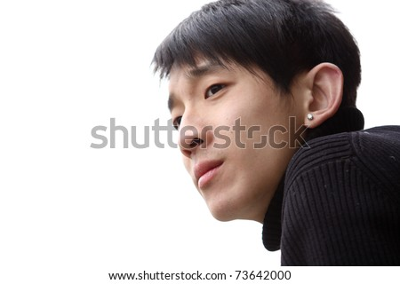 chinese man looking, left white zone for texture