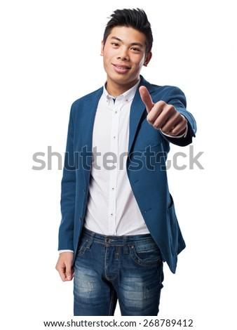 chinese man okay gesture - stock photo
