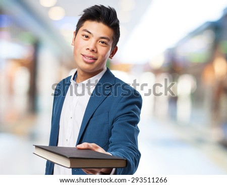 chinese man with book